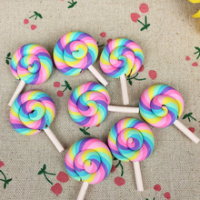 Buy 10Pieces Flat Back Clay Cabochon Kawaii Rainbow Color Lollipop DIY Flatback Scrapbooking Embellishment Decoration Craft:28*43mm for $2.99 in AliExpress store