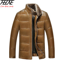 Men's Leather Jacket Down Coat Winter Jackets for Men Sheepskin Goose Down Jacket Stand Fur Collar Quality Genuine Leather Coats(China (Mainland))