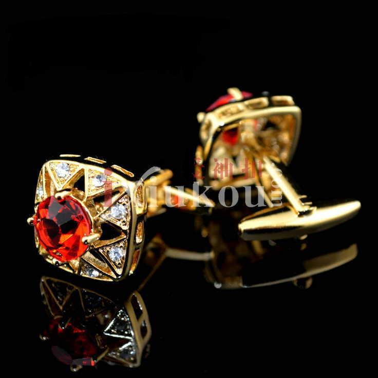 Best Gift Men Red Gold Luxury Gem Austria Crystal Cufflink Wedding Groom Cuff Links Business Silver Cufflinks Mens - V store