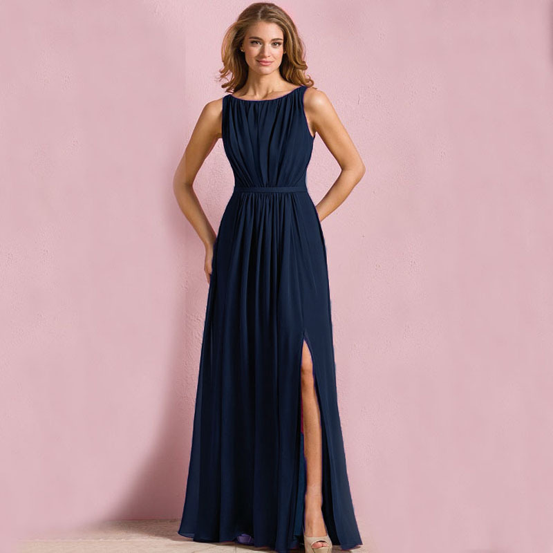 B7199 new cheap navy long bridesmaid dresses chiffon scoop for Cheap formal dresses for wedding guests