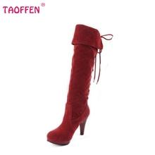Tamaño 32-48 mujeres del alto talón sobre la rodilla botas damas botas de montar tacones de calzado de moda de arranque largo nieve botas de invierno cálido zapatos P6782(China (Mainland))