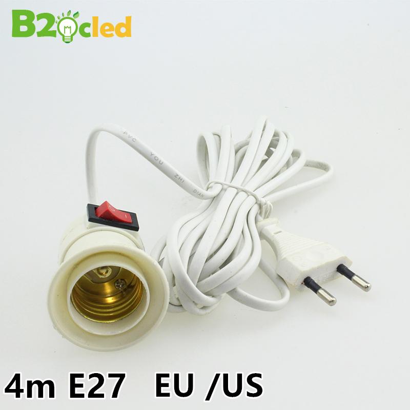 4m long E27 LED light base Lighting accessories base bulb Socket Lampadas switch EU / US Suspension type lamp holder droplight(China (Mainland))