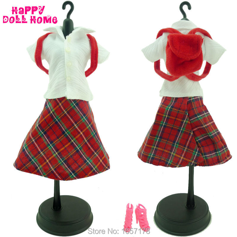 4in1 Fashion British Style Outfit White T Shirt Red font b Tartan b font Pattern Skirt