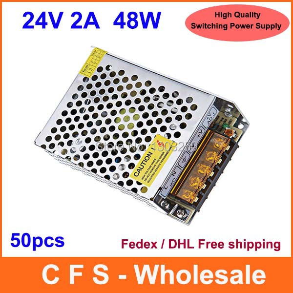 High Quality AC DC 24V 48W Universal Regulated Switching Power Supply 24V 2A LED Driver Free shipping 50pcs wholesale(China (Mainland))