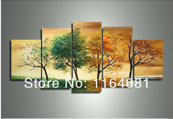 Buy hand painted 5 piece modern landscape for 4 seasons decoration