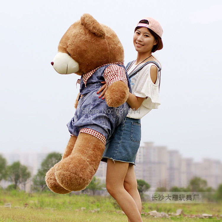 1pair 60~110cm big head jeans wearing stuffed plush giant fat teddy bear lovely toys for children and girlfriend birthday gifts(China (Mainland))