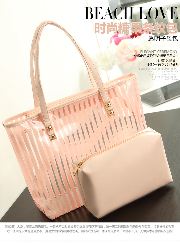 Popular women summer handbag shoulder Candy PVC clear Beach bag shoulder bag Transparent pvc clear handbags tote for women(China (Mainland))