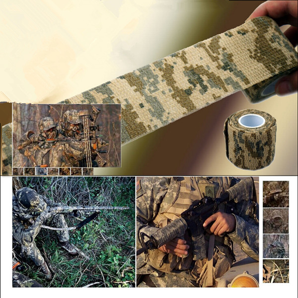 Free Shipping 1 Roll Camo Stretch Bandage Camping Hunting Camouflage Tape for Gun Cloths Hot