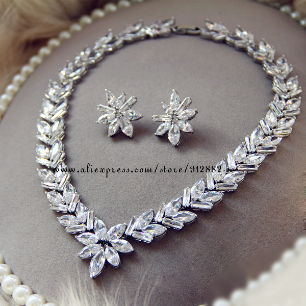 Free Shipping 2014 Stunning Sparkling AAA CZ Prong Set White Gold Plated Wedding Bridal Prom Party Large Jewelry Set