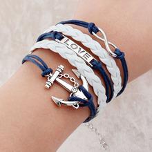 Vintage Braided Anchors Rudder bracelets owl Love best friends Rope charm Bracelets for women heart Leather Bracelet men jewelry(China (Mainland))