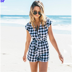 Plaid Elegant Jumpsuit V-Neck Sexy Rompers Womens Jumpsuit Summer Style Belt Bodycon Jumpsuit Beach Overalls Macacao Feminino DF