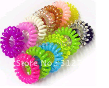 -- New. 500pcs/lot Plastic telephone line hair band, hair accessoryies,cheap,gift,wholesale,