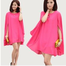 2016 Plus size women clothing,bat sleeve shawl leisure chiffon dress,women casual dress,vestido de festa S -  4XL 5XL 6XL DRESS(China (Mainland))
