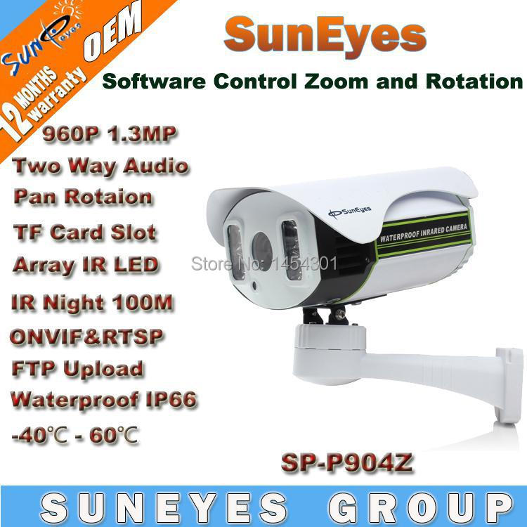 new SunEyes SP-P904Z ONVIF IP Camera Outdoor PTZ 960P 1.3MP HD with TF/Micro SD Slot Pan/Tilt/Zoom Array IR Night 100M Low Lux<br>