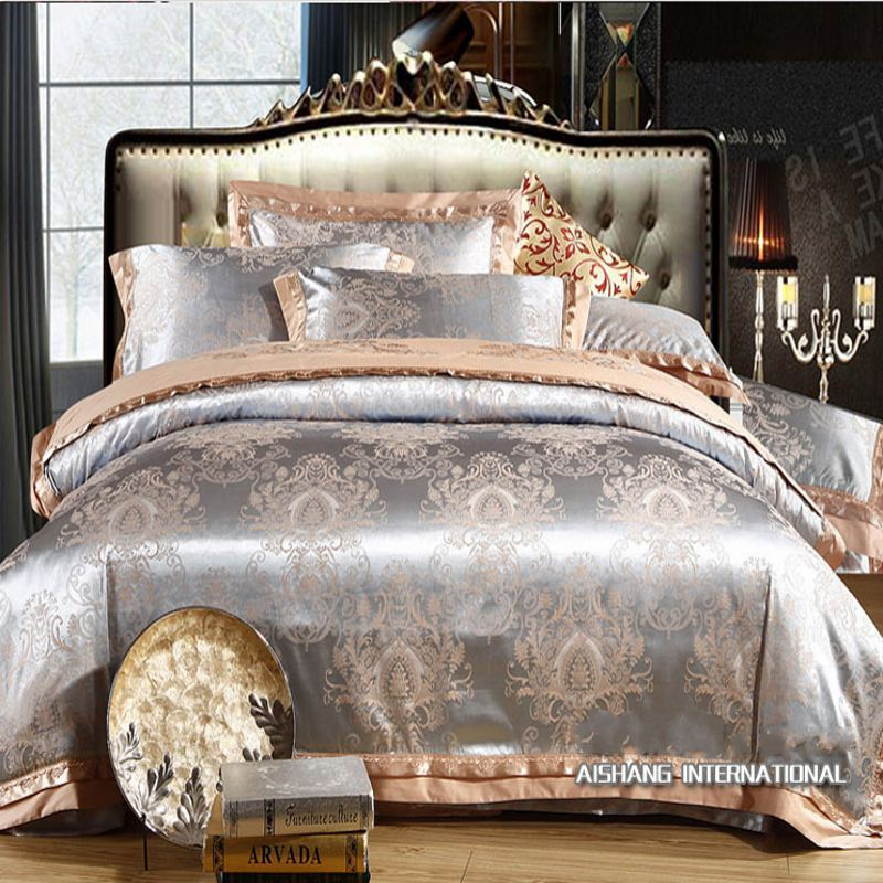2015 New silk Jacquard bedding set Luxury 4pcs satin doona comforter/duvet cover queen king Embroidered bed linen bedclothes set(China (Mainland))