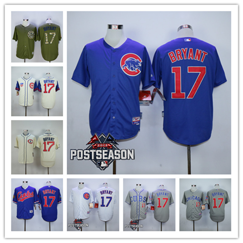 2015 Men Chicago Cubs 17 Kris Bryant Baseball Jersey Personalized Embroidered Stitched Shirt Free Shipping Mix Order