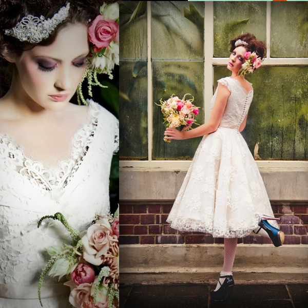 2014 custom made vintage tea length wedding dresses lace v for Shoes for tea length wedding dress