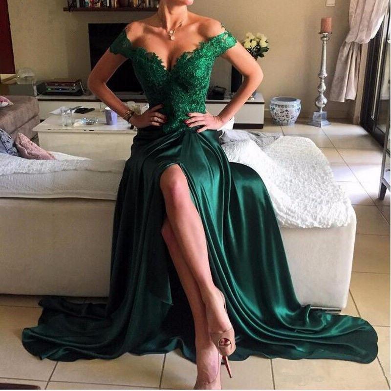 Off Shoulder Emerald Green Evening Dresses 2017 Lace Dubai Formal Sexy Split Evening Gowns Party Dress Open Back Prom Dresses Slit Customize