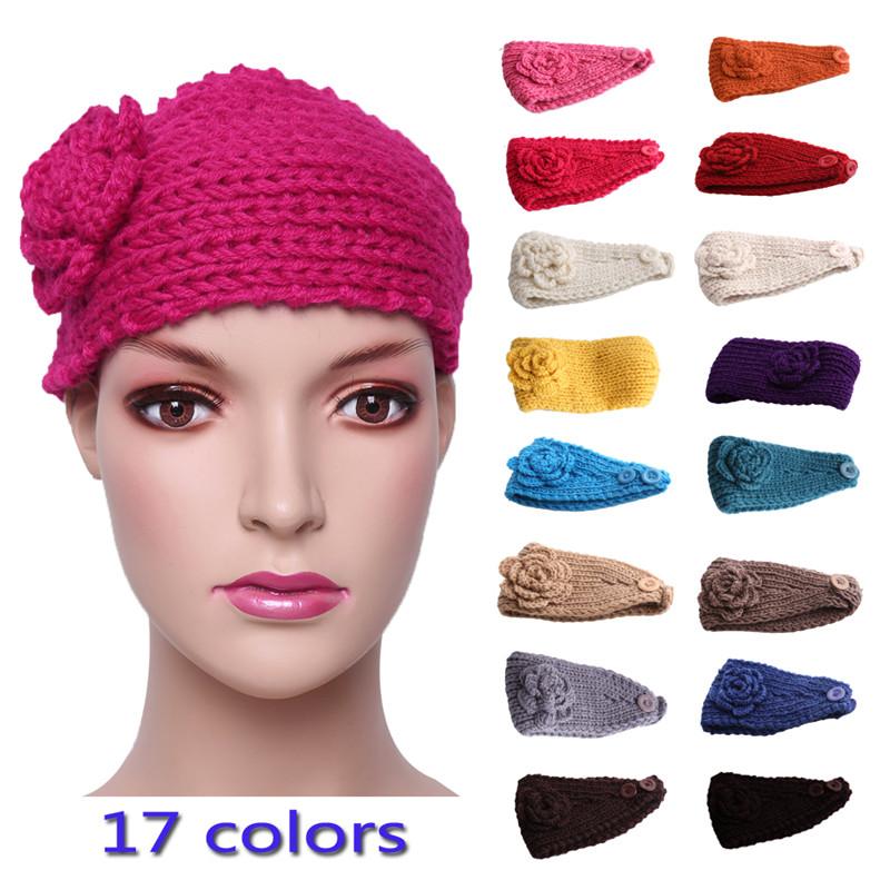 Women Knitted Flower Hairband Headwrap Crochet Headband Winter Warm Hair Band Girls Woman Headwear Hair Accessories HO852469(China (Mainland))