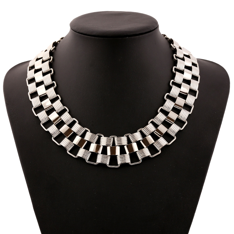 S&P Brand 2015 New Fashion Jewelry Women Zinc Alloy Link Chain Necklace Punk Statement Necklace For Women N0067(China (Mainland))