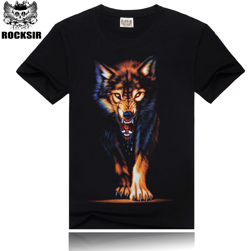High Quality 2016 casual tees 100% cotton fashion men t-shirt Comfort men`s t shirt men Wolf Large M-XXXL Streetwear BY610(China (Mainland))