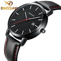 BINSSAW new 6 mm ultra thin contracted men quartz luxury fashion brand watch waterproof leather strap