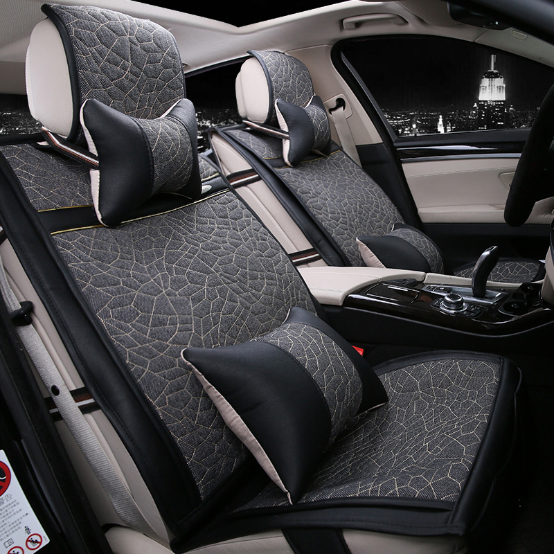 linen four seasons general 5 seats car seat cushion seat cover for lada toyota corolla volvo. Black Bedroom Furniture Sets. Home Design Ideas