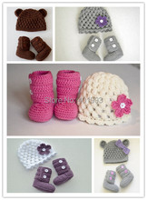 2015 NEW!!Handmade Crochet cute Newborn hat and boots sets photography props baby hat and shoes set,baby hat flower beanie(China (Mainland))