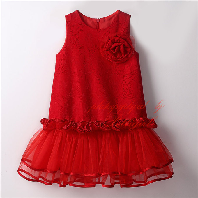 2016 Summer Kids Girls Tulle Lace Dresses Baby Girl Princess Sleeveless  Dress with Flower Brooch Babies clothes <br><br>Aliexpress