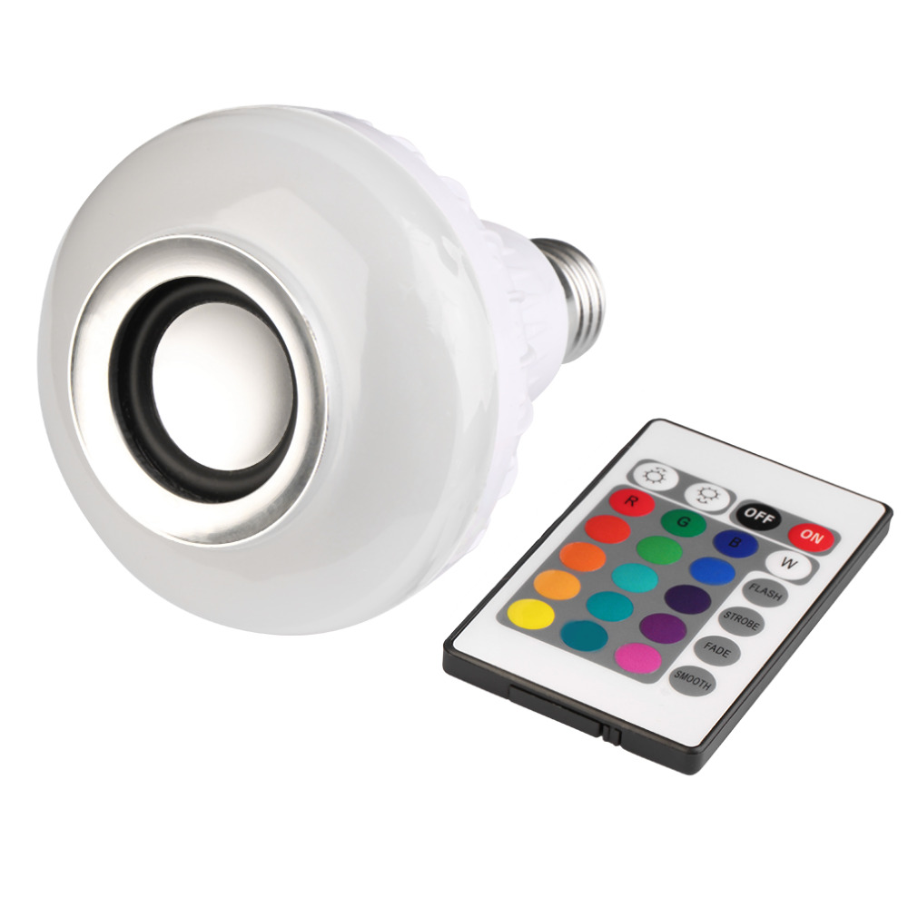 Wireless E27 Bluetooth Remote Control Mini Smart LED Audio Speaker RGB Color Light Warm Bulb Music Lamp(China (Mainland))