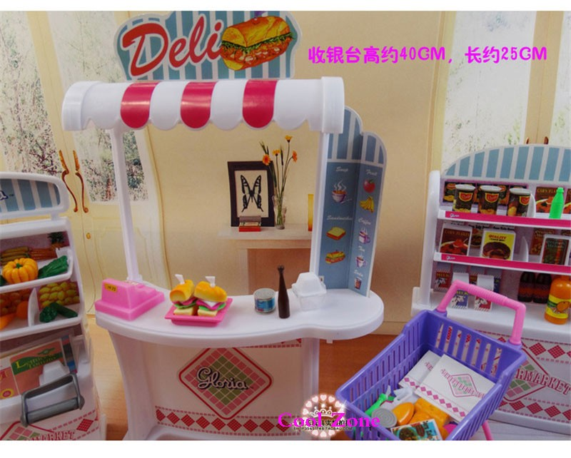 Miniature Furnishings Grocery store for Barbie Doll Home Faux Play Toys for Lady Free Delivery