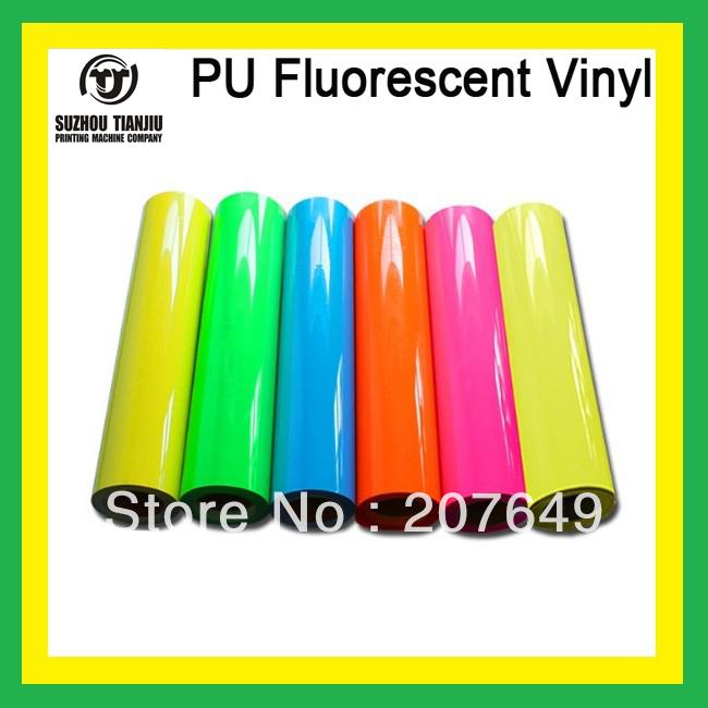 "TJ T shirts PU Fluorescent Heat Transfer Vinyl 1 Roll 0.5*25meter(20""X984"") six colors HOT SALES(China (Mainland))"