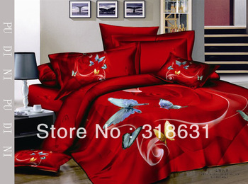 Warm red duvet doona cover bedding sets home textile flying butterfly design sheet sets full/queen 4pc-OIL PAINTING No Filler
