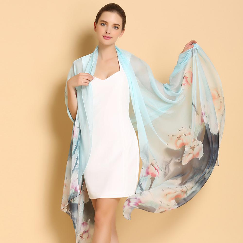 Sale100% Natural Silk Scarves High Quality Pure Silk Scarf Shawl Oversize 250cm x 108cm Fashion Flower Printed Shawls C202(China (Mainland))