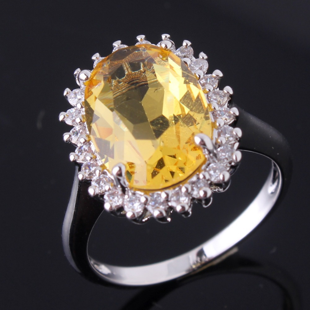 2015 Hot Sale 18K White Gold Plated Citrine Cubic Zirconia Womens Ring High Quality Jewellery Free Shipping R455(China (Mainland))