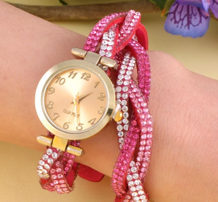 2015 Jewelry Women Wristwatch Fashion Casual Dress Quartz Watch Bracelet Drill vintage diamond Watch(China (Mainland))
