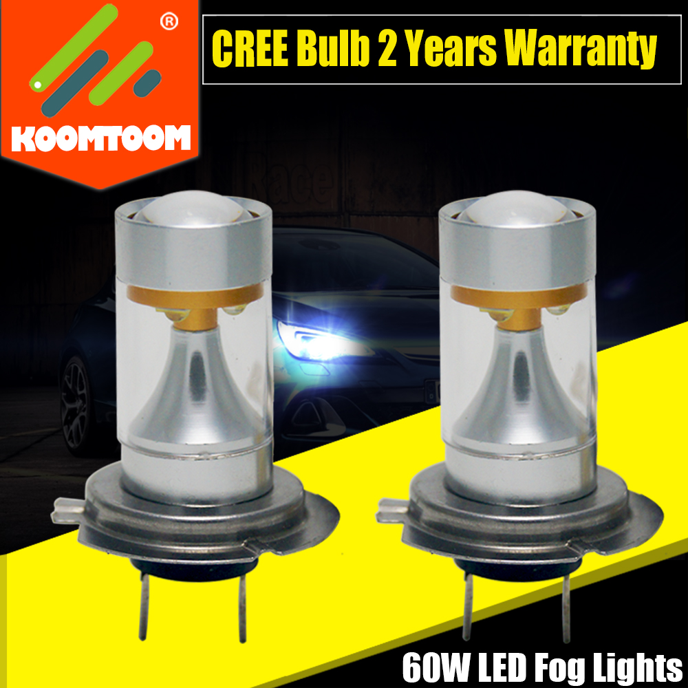 2x 12v LED H7 Lamp for Cars 60W with Cree Blubs Projector Fog Lights and DRL Driving Light White Headlight Light Lamp Bulbs(China (Mainland))