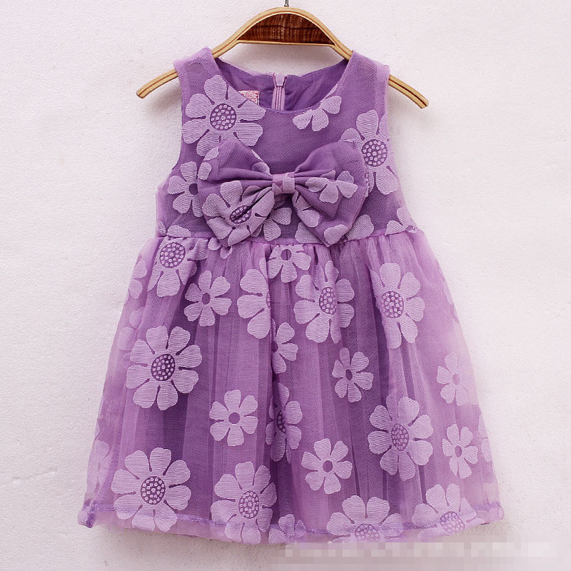 Summer Dress Girls 2015 La Reine Des Neiges Vestido NiNa Toddler Children Party Clothing Purple With Big Bow Clothes Kids(China (Mainland))