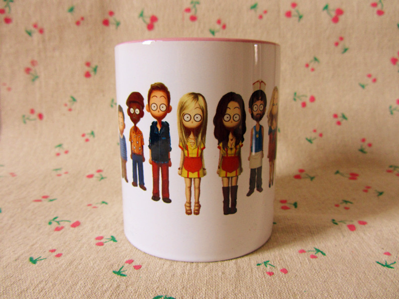 New 2 Broke Girls Cartoon Family Photo Quality Ceramic Coffee Mug Cup ---Loveful(China (Mainland))