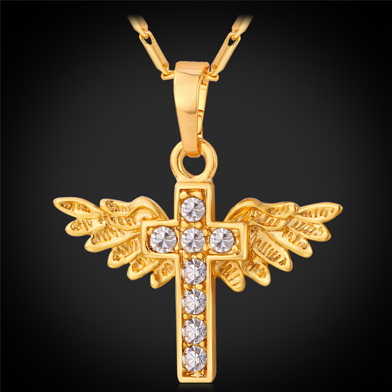 Angel Wing Cross Necklaces Trendy Platinum /18K Gold Plated Women Accesory Christianity Jewelry Wholesale Pendant Necklace P222(China (Mainland))