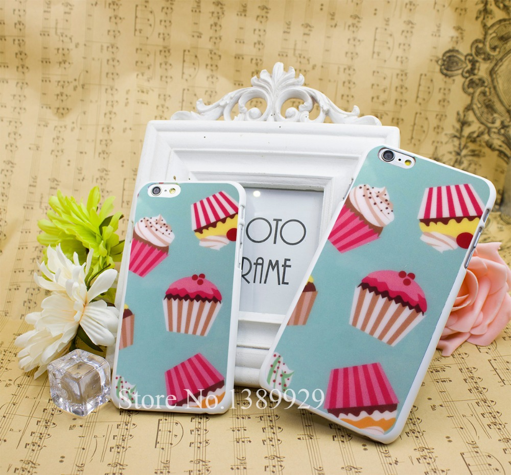 CUPCAKE TEAL PATTERN PINK Series Case Cover for iPhone 6 6s 6 Plus Hard White Plastic Print Back(China (Mainland))