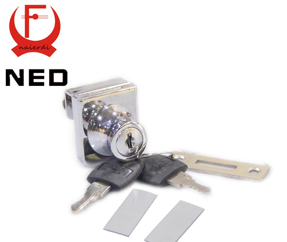 NED407 Single Glass Lock Zinc Alloy Showcase Push Glass Cabinet Door Cylinder Lock Sliding Glass Push Door Keyed Lock With 2Key(China (Mainland))