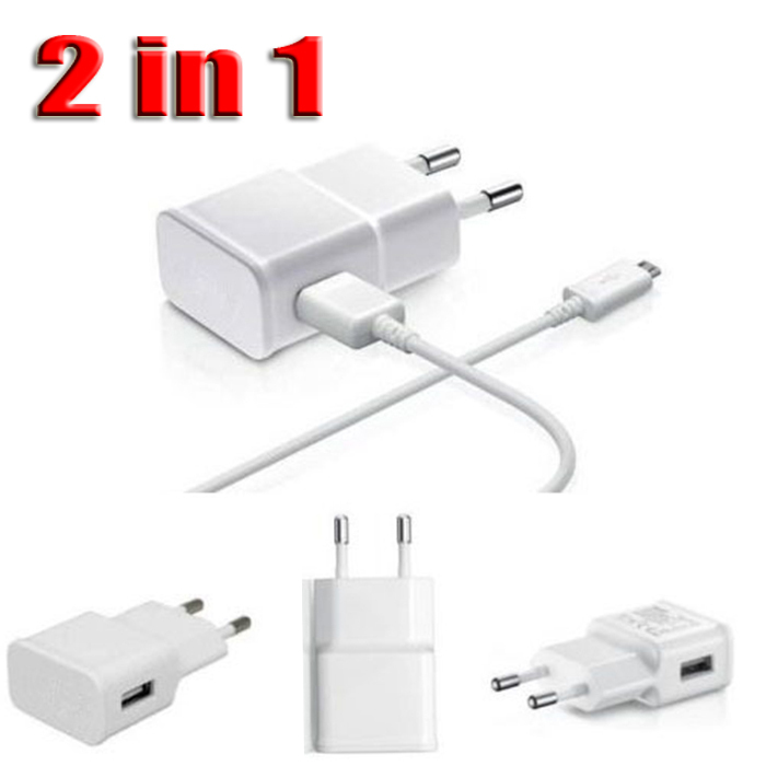 HOT Sell For Samsung EU Plug USB Home Travel Wall Charger Adapter + Micro USB Data Cable For Samsung Galaxy S2 S3 S4 Note 2()