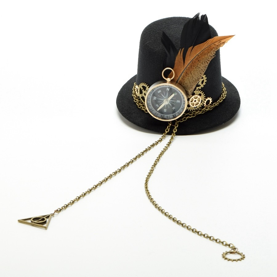 1pc Girls Steampunk Small Top Hat Hair Clip Gears