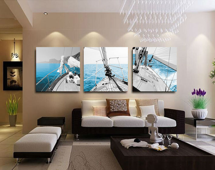 3 panel sailing home decorative canvas painting living - Peinture lumineuse pour salon ...