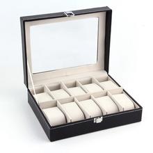 Free shipping 1Pcs Black PUleather 10Grid professional Wrist Watch Display Box Jewelry Storage Holder Organizer Case Quality NO1