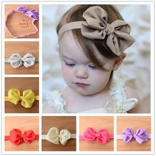 2016 10 Colors Chiffon Bowknot Baby Headbands Solid Color Girl Elastic Hair Bands Infant Flower Bow Headband XHH04192