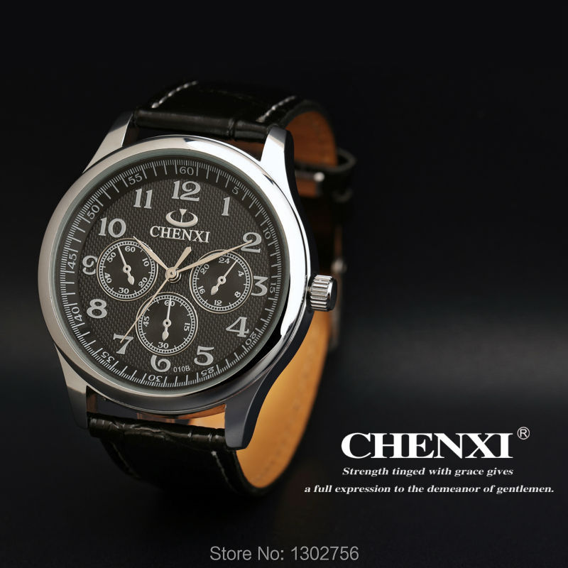 2014 New Fashion Brand Leather Strap Watch Quartz Men casual Wristwatch Mens Dress watches Good Present Best Gift