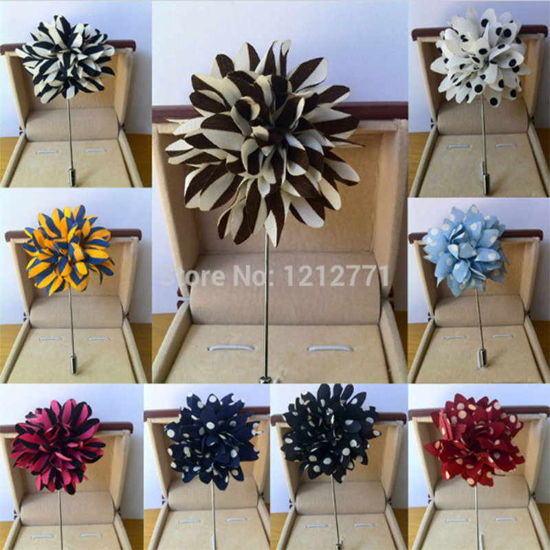New fashion men brooch flower lapel pin 5cm suit boutonniere fabric yarn pin 12 colors button brooches Wholesale DHL or UPS TNT(China (Mainland))