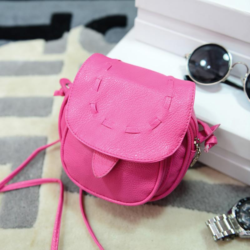 QZH 2017 Summer Women Mini Shoulder Bag PU Candy Color Coin Key Purse Handbags Teenager Girls Telephone Messenger Bags(China (Mainland))